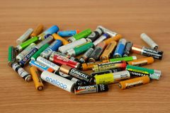 Bangkok, THAILAND - April 14, 2019 Used batteries many different brands stock photos
