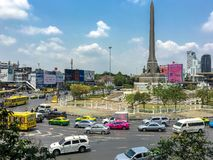View of the Victory Monument the big military monument. Bangkok, Thailand April 5, 2019: View of the Victory Monument the big military monument stock photos