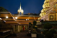 BANGKOK, THAILAND - APRIL 6, 2018: Wat Pho buddist temple - Decorated in gold and bright colors where buddists go pray - stock photo