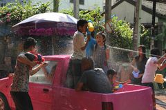 Bangkok, Thailand - April 15: Water fight in Songkran Festival Thai New Year on April 15, 2011 in soi Kraisi, Bangkok. Water fight in Songkran Festival Thai New Royalty Free Stock Images