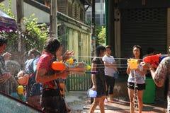 Bangkok, Thailand - April 15: Water fight in Songkran Festival Thai New Year on April 15, 2011 in soi Kraisi, Bangkok Stock Images