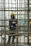 Bangkok Thailand, arbetare på överkanten av en byggnadsplats Royaltyfria Foton