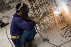 Bangkok Thailand, arbetare på överkanten av en byggnadsplats Fotografering för Bildbyråer