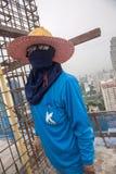 Bangkok Thailand, arbetare på överkanten av en byggnadsplats Royaltyfria Bilder