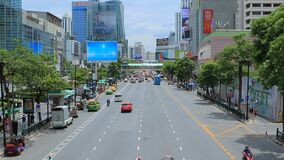 BANGKOK THAILAND - AUG4,2015 : traffic in ratchadumri road important shopping center in heart of thailand capital stock footage