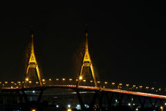 BANGKOK, THAILAND - AUGUST 17, 2015 : Bhumibol Bridge. The Bridge cross over Bangkok Harbor Stock Photos