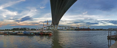 Bangkok Thailand : 5 August 2015 : Bhumibol Bridge Panorama with sunset Royalty Free Stock Image