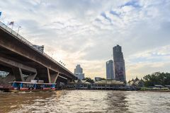 The ferry is docked at Chao Phraya River. Royalty Free Stock Photography