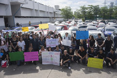 Bangkok, Thailand : August 31, 2016 - ford's car user in thailand get a flash mob at Nang Leang Racecourse. To call for justice about gear problem in ford Royalty Free Stock Photo