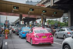 Gate for expressway fee payment in Bangkok by EXAT Stock Photos