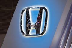 Honda car logo at motor show. Bangkok, Thailand. - August 27, 2017 : Honda car logo at motor show Royalty Free Stock Photos