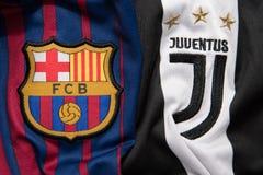 BANGKOK THAILAND - AUGUST 31: the logo of Barcelona and Juventu