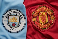 BANGKOK, THAILAND - AUGUST 5: Logo of Manchester City andManchester United Football Club on the Jersey on August 5,2017 in