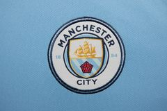BANGKOK, THAILAND - AUGUST 5: The Logo of Manchester City Football Club on the Jersey on August 5,2017 in Bangkok Thailand.