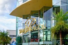 Shoppers visit Siam Paragon mall in Siam Square mall on in Bangkok, Thailand. royalty free stock photo