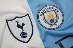 BANGKOK, THAILAND - AUGUST 5: The Logo of  Tottenham Hotspur  an. D Manchester City on Football Jerseys on August 5 ,2017  in Bangkok Thailand Stock Photography