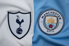 BANGKOK, THAILAND - AUGUST 5: The Logo of  Tottenham Hotspur  an. D Manchester City on Football Jerseys on August 5 ,2017  in Bangkok Thailand Royalty Free Stock Photography
