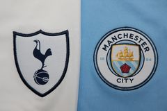 BANGKOK, THAILAND - AUGUST 5: The Logo of  Tottenham Hotspur  an. D Manchester City on Football Jerseys on August 5 ,2017  in Bangkok Thailand Stock Photos