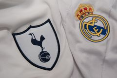 BANGKOK, THAILAND - AUGUST 31: The Logo of  Tottenham Hotspur  a. Nd Real Madrid on Football Jerseys on August 31 ,2017  in Bangkok Thailand Stock Photos