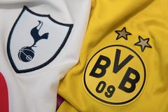BANGKOK, THAILAND - AUGUST 31: The Logo of  Tottenham Hotspur  a. Nd  Borussia Dortmund on Football Jerseys on August 31 ,2017  in Bangkok Thailand Stock Images