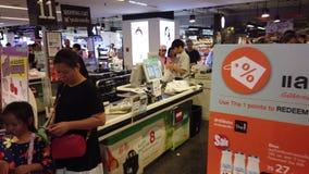 Bangkok, Thailand - August 11, 2019 : Row of cashier in Central Plaza Ladprao. Bangkok stock video