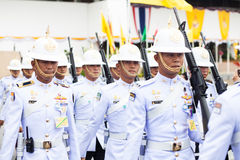BANGKOK, THAILAND - AUGUST 21: Royal Thai Army hold gun in celeb Royalty Free Stock Photo
