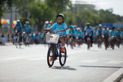 BANGKOK THAILAND : AUGUST16 : thai children riding bicycle  in Royalty Free Stock Photos