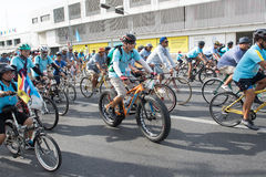 BANGKOK THAILAND : AUGUST16 : thai people riding bicycle in Royalty Free Stock Image