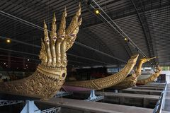 Bangkok, Thailand - August 12, 2017: Thai royal barges in National Museum of Royal Barges, Bangkok, T Stock Photos