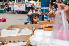 Donut and sweet dessert food at street food market Stock Image