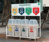 Waste Sorting campaign In Bangkok. Bangkok, Thailand - August 30, 2018: Waste Management Recycling bins in Bangkok, In an effort to increase recycling a royalty free stock image