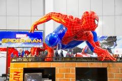 Bangkok, Thailand - August 26, 2017 : A waxwork of Spiderman on. Display of Marvel Disney Pixar store royalty free stock photo