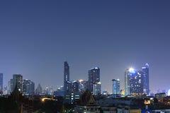 BANGKOK, THAILAND Beautiful panorama view of nightlife of Bangkok city and buildings. BANGKOK, THAILAND - April 15, 2018: Beautiful panorama view of nightlife of Royalty Free Stock Photo
