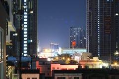 BANGKOK, THAILAND Beautiful panorama view of nightlife of Bangkok city and buildings. BANGKOK, THAILAND - April 15, 2018: Beautiful panorama view of nightlife of Stock Image