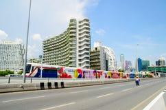 Bangkok, Thailand : BTS sky train on Sathorn Bridge Stock Image