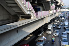 Bangkok, Thailand: BTS Station & Traffic Royalty Free Stock Photography