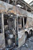 Bangkok/Thailand - 12 02 2013: A bus and two vans got set on fire on Ramkhamhaeng road.  Royalty Free Stock Image