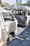 Bangkok/Thailand - 12 02 2013: A bus and two vans got set on fire on Ramkhamhaeng road.  Royalty Free Stock Photography