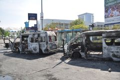 Bangkok/Thailand - 12 02 2013: A bus and two vans got set on fire on Ramkhamhaeng road.  Royalty Free Stock Photo