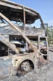 Bangkok/Thailand - 12 02 2013: A bus and two vans got set on fire on Ramkhamhaeng road.  Stock Photos