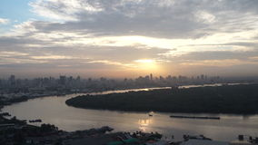 Bangkok, Thailand capital city South East Asia view from top at sunrise skyline over the main river curve stock video