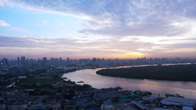 Bangkok, Thailand capital city of South East Asia view from top at sunrise skyline over the main river curve stock video footage