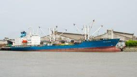Bangkok,Thailand : Cargo ship. Cargo ship floating in the Tha Chao Praya River at Bangkok, Thailand Royalty Free Stock Photo