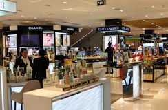 Bangkok, Thailand: Central Chit Lom Dept. Store. Chanel and Estee Lauder are but two of the major cosmetic companies to sell their products at the upscale Royalty Free Stock Photo