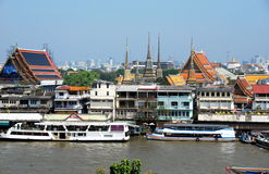 Bangkok, Thailand: Chao Praya River & Wat Pho View Stock Photos
