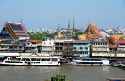 Bangkok, Thailand: Chao Praya River & Wat Pho View Stock Photos