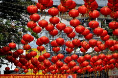 Bangkok, Thailand: Chinatown Red Lanterns Royalty Free Stock Photography