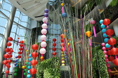 Bangkok, Thailand: Chinese Lanterns. A beautiful display of multi-coloured Chinese lanterns for the Chinese New Year holidays hang from the atrium ceiling at the Royalty Free Stock Image