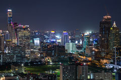 BANGKOK, THAILAND - CIRCA AUGUST 2015: Skyline of Bangkok, Thailand by  night Stock Photos