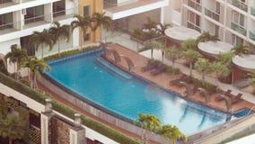 BANGKOK, THAILAND - CIRCA March 2017: Beautiful salt sea water pool in a hotel. Tropical resort. stock video